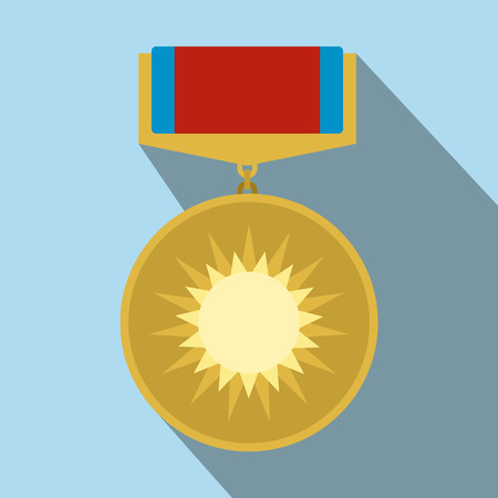 valor: Medal of valor flat icon with shadow for web and mobile devices