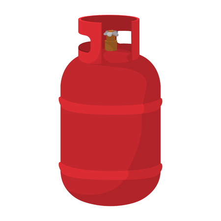 gases: Gas bottle cartoon icon. Red container with flame symbol on a white background