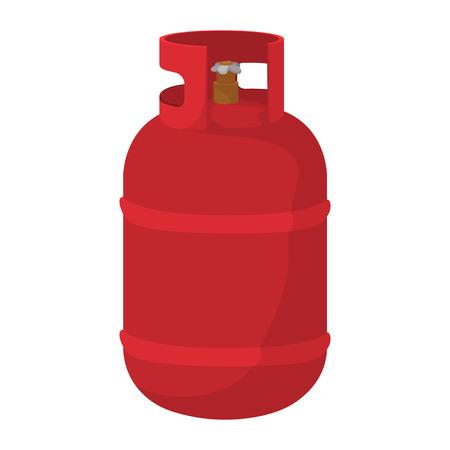 cilindro de gas: icono de dibujos animados botella de gas. Contenedor de color rojo con el s�mbolo de la llama sobre un fondo blanco