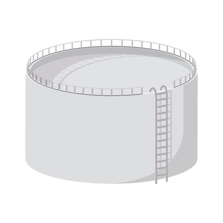 저장 탱크 만화 아이콘입니다. 흰색 배경에 고립 된 단일 그림