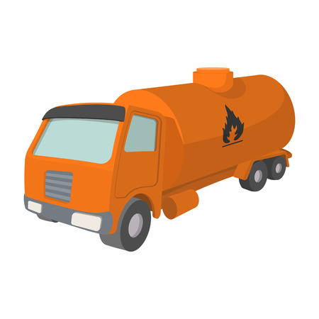 camion: Orange oil truck cartoon icon. Chemical tank isolated on a white background