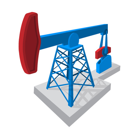 petroleum blue: Oil pump cartoon icon. Single symbol isolated on a white background