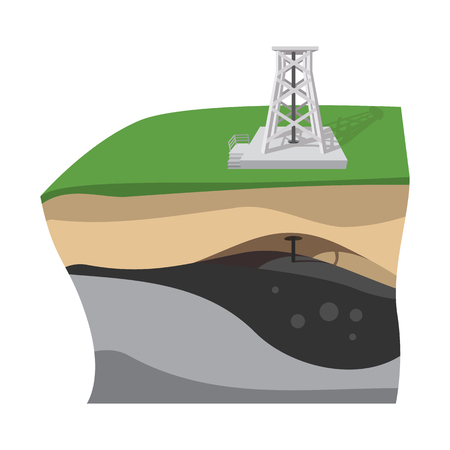 impervious: Oil extraction cartoon icon. Scheme. Single illustration isolated on a white background