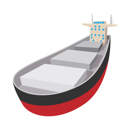 bulk carrier: Oil tanker cartoon icon. Single symbol isolated on a white background Illustration