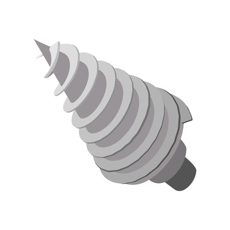 deep drilling: Rotating drill cartoon icon isolated on a white background