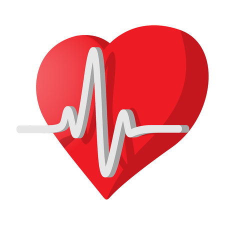 heartbeat line: Heartbeat cartoon icon on a white background