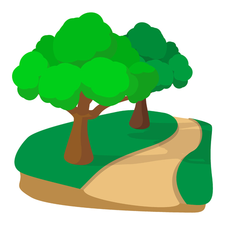 jogging track: Jogging track in the park cartoon icon on a white background