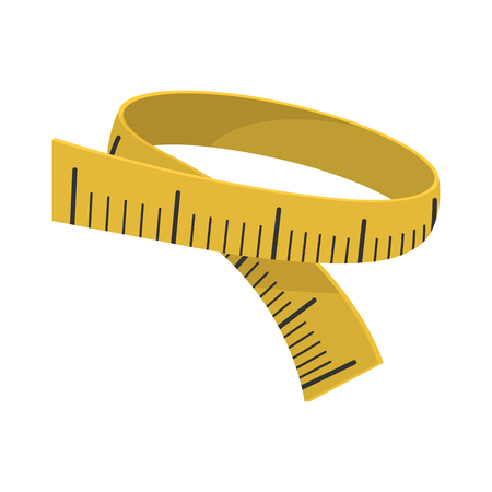 Measuring tape cartoon icon on a white background