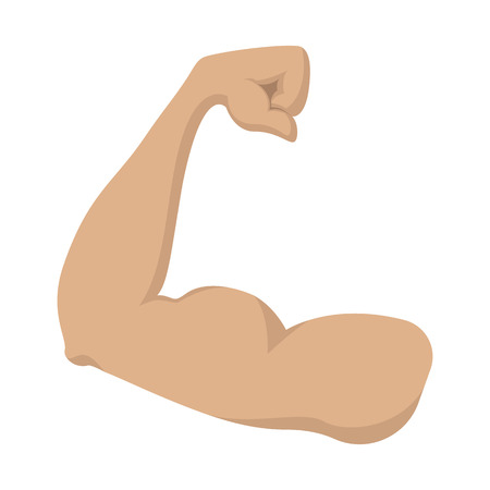 man arm: Strong biceps cartoon icon on a white background. Mans arm