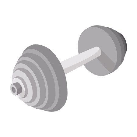 barbell: Barbell cartoon icon on a white background