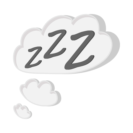 White cloud with ZZZ cartoon icon on a white background Vector Illustration