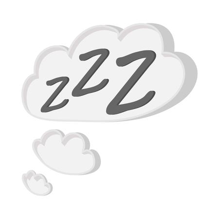 zzz: White cloud with ZZZ cartoon icon on a white background