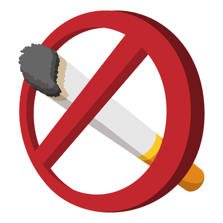 no: No smoking sign cartoon icon on a white background