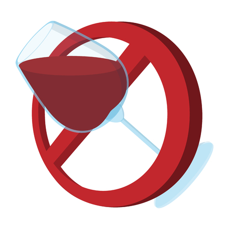 cartoon bottle: No alcohol sign cartoon icon on a white background