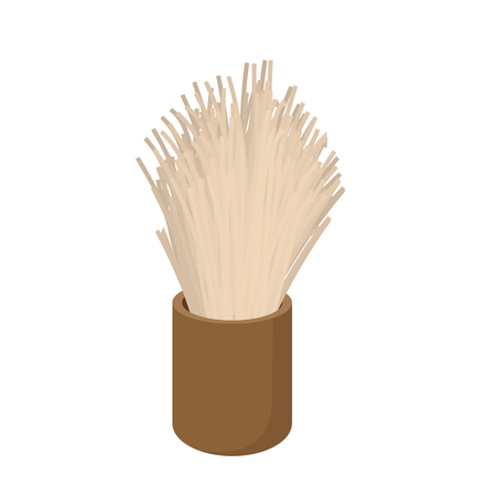 shaving brush: Wooden shaving brush cartoon icon on a white background