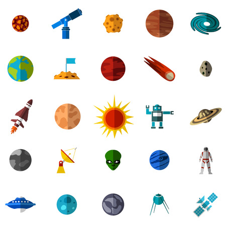 earth from space: Space flat icons set isolated on white background