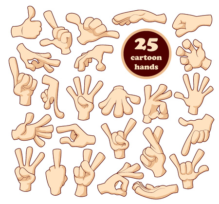 pointing finger up: 25 Comics cartoon hands set isolated on white background Illustration