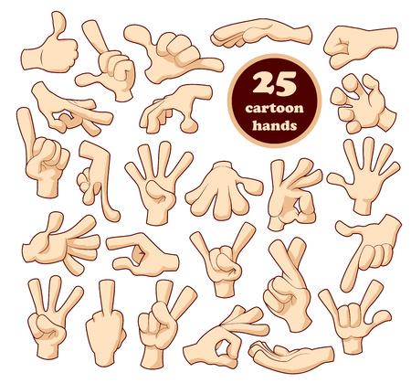 25 Comics cartoon hands set isolated on white background Illustration