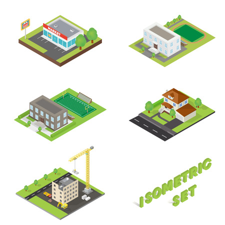 3d icons: Buildings isometric 3d icons set for web and mobile devices