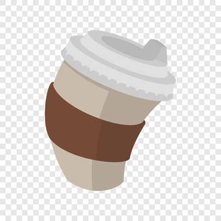 out of use: Paper coffee cup in cartoon style on transparent background Illustration