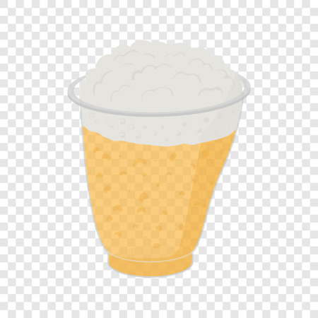 stout: Beer in plastic cups in cartoon style on transparent background