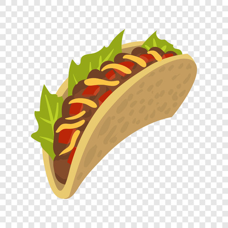 ground beef: Mexican taco in cartoon style on transparent background