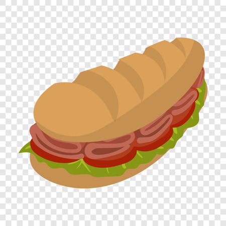 cartoon submarine: Submarine sandwich in cartoon style on transparent background