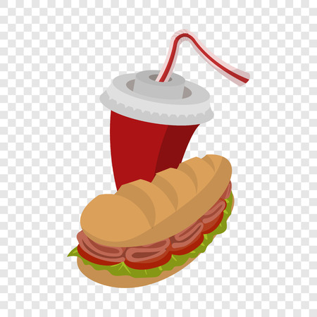 cartoon submarine: Cartoon submarine sandwich and soda on transparent background Illustration