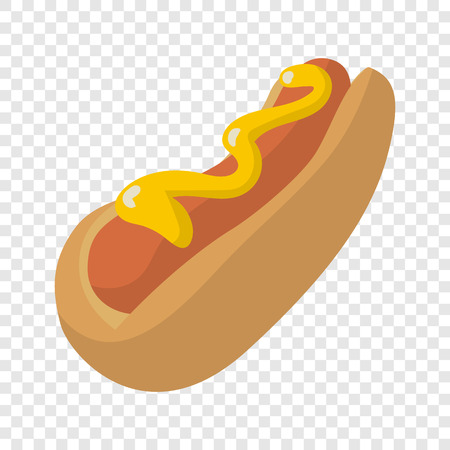Hot Dog in cartoon style on transparent background Vettoriali