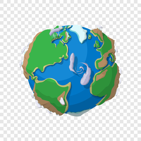 Earth in cartoon style on transparent background Illustration