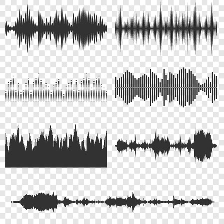 Sound waves icons set on transparent background Vectores