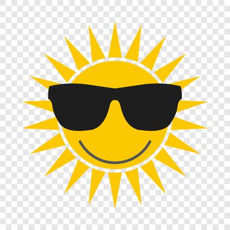 gafas de sol: Sol con gafas icono de plano sobre fondo transparente