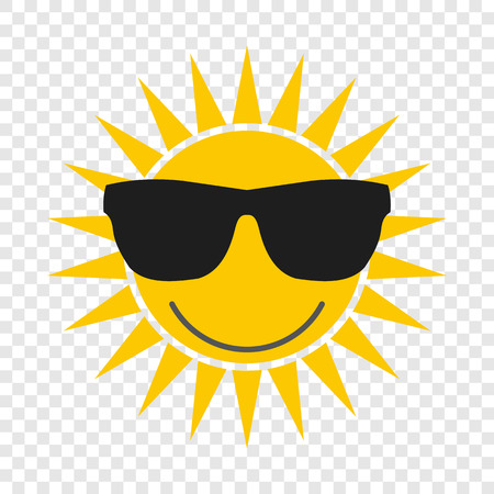 Sun with glasses flat icon on transparent background Çizim