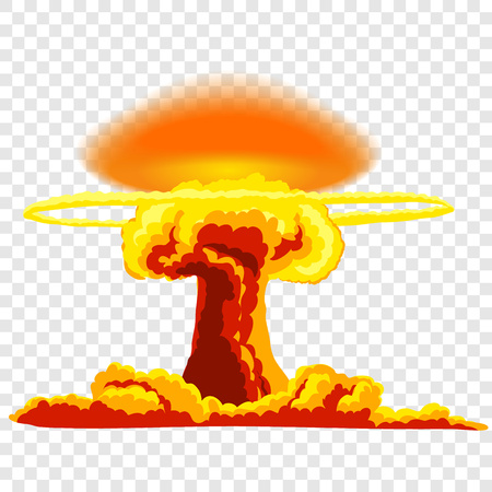Nuclear explosion with dust. Orange and red illustration on transparent background