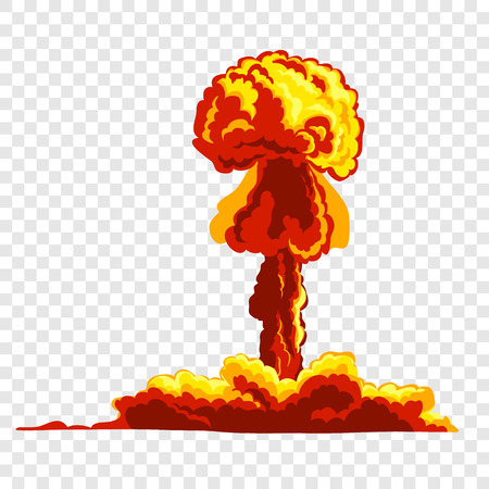 Mushroom cloud. Orange and red illustration on transparent background