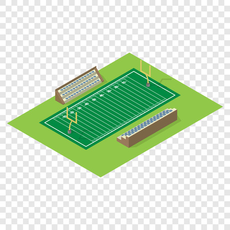 american football ball: Isometric american football field on transparent background