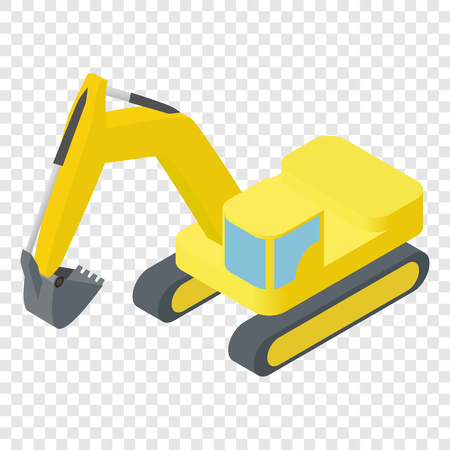 quarry: Isometric icon representing heavy yellow excavator on transparent background Illustration
