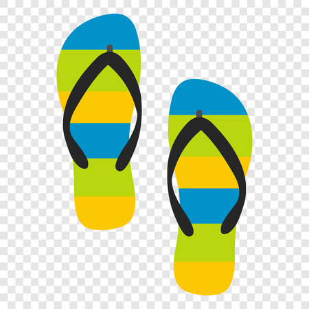 flipflop: Beach slippers flat icon on transparent background Illustration