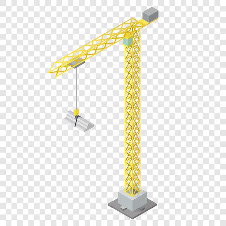 Isometric industrial crane for construction on transparent background