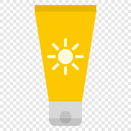 sun cream: Sun cream flat icon on transparent background Illustration