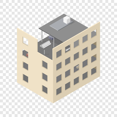 footing: New isometric house under construction on transparent background