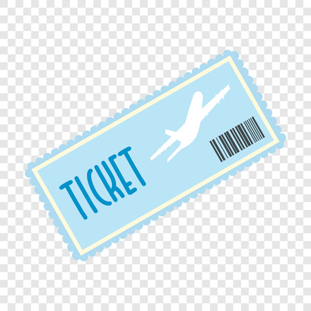 airplane ticket: Airplane ticket flat icon on transparent background Illustration