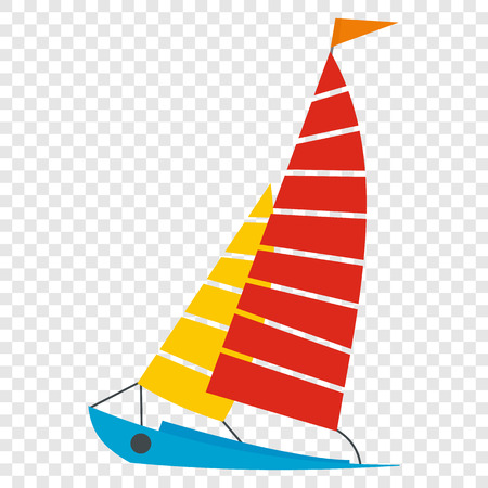 Sailing yacht flat icon on transparent background Vectores