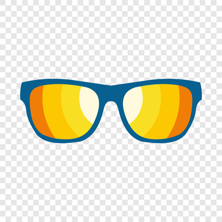 Sunglasses icon in flat style on transparent background Vettoriali