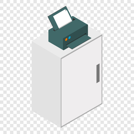 laser printer: Isometric laser printer on table icon on transparent background