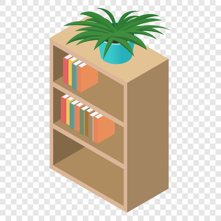 bibliography: Bookcase isometric 3d icon on transparent background