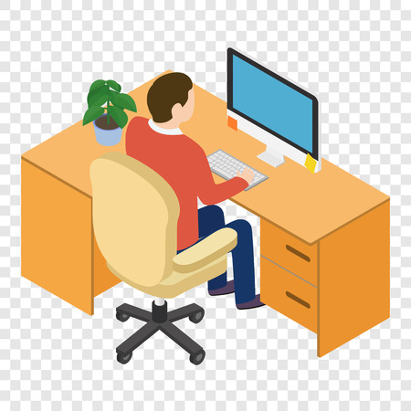 office computer: Isometric people at the workplace on transparent background