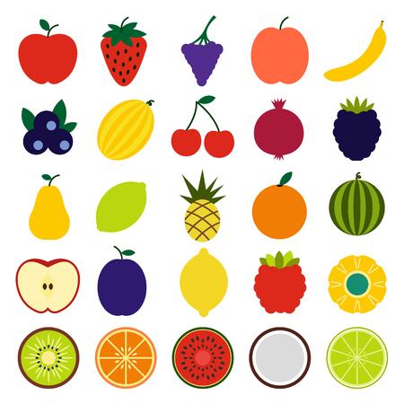 fruta tropical: Frutas iconos planos del conjunto aislado sobre fondo blanco