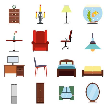 simbols: Furniture flat icons set. Colored simbols for living room