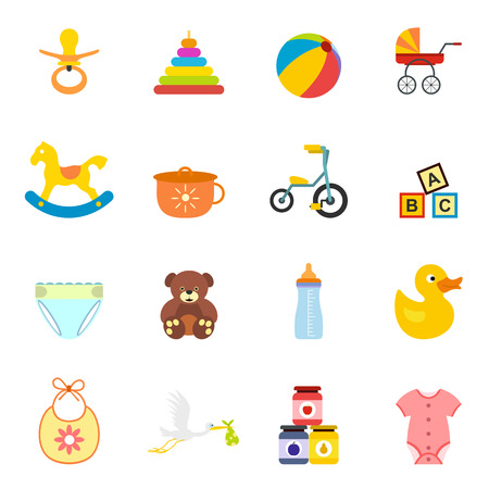 boy and girl: Baby flat icon set for web and mobile devices